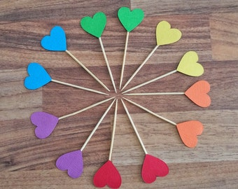 Rainbow Heart cupcake toppers, 24 Rainbow heart toppers, first birthday, Mini food picks, cupcake toppers, Rainbow party, Rainbow theme