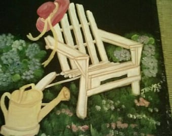 Painted Slate   Adirondack Chair Garden Scene *Personalized No Charge*