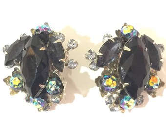 Signed JUDY LEE Black rhinestone silver clip on earrings