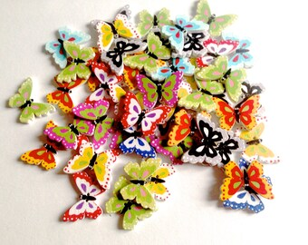 Butterfly buttons wood sewing scrapbooking, clothing accessories, buttons of wood ecological painted hand 24 * 18 mm Pack 25 / 50 buttons