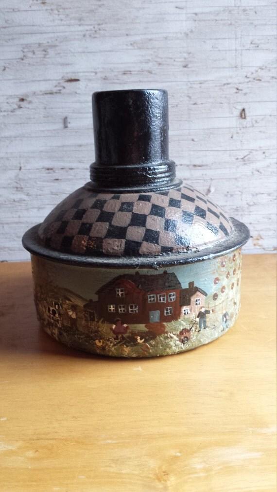 Folk Art Painted 1950's Kerosene Container by folk artist M. L. Edwards