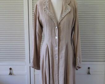 Vintage YANTHA Overcoat Medium Linen Steam Punk Victorian Inspired