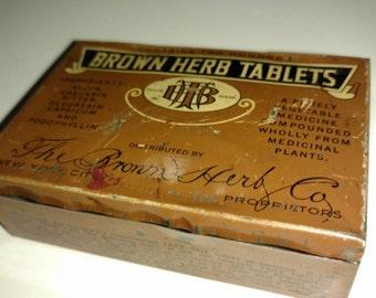 Brown Herb Co. Vintage Tin Tablet Box