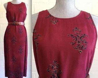 CLEARANCE! Vintage oxblood boho midi dress - 90s grunge - sleeveless - burgundy / maroon / cranberry / wine colored
