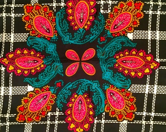 Vintage Silk Scarf Diane Von Furstenberg Designer Silk Scarf - Large - Shawl, Wrap Black and White Plaid Pink, Marigold, Teal Gift for Mom