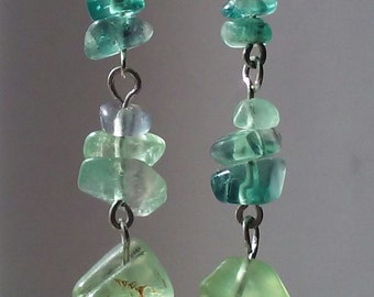 Fourite Kyanite and Prehnite Earrings