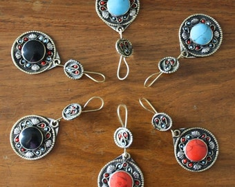 Bohemian Tribal Earrings Afghan Kuchi Earrings Vintage Ethnic Gypsy Nomadic Bedouin Earrings