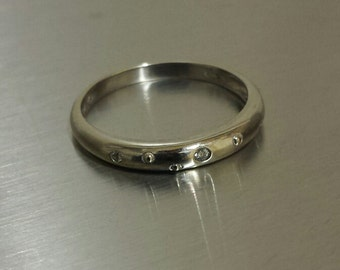 14K White Gold Ring Band With Gypsy-Mounted Diamonds