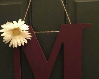Monogram/ letter wreath - maroon with optional house number