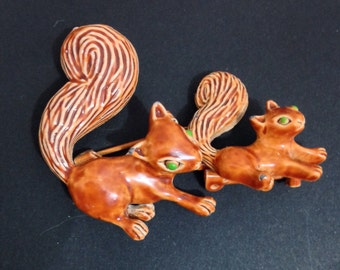 Vintage Red Squirrel Pins Signed Gerrys