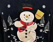 40% OFF Vintage Navy Blue Christmas Snowman Sweeping Brush Jumper Sweater Large