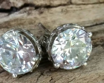 Large CZ stud earrings.