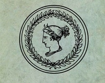Classical Greek Style Cameo in Olive Leaf Wreath - Antique Style Clear Stamp