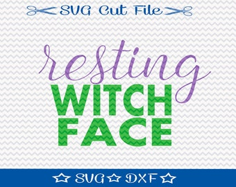 Resting Witch Face SVG File, SVG for Silhouette, Halloween svg, Halloween Cut File, Silhouette Cut File