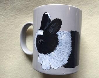 Handpainted Dishwasher safe Rabbit Mug
