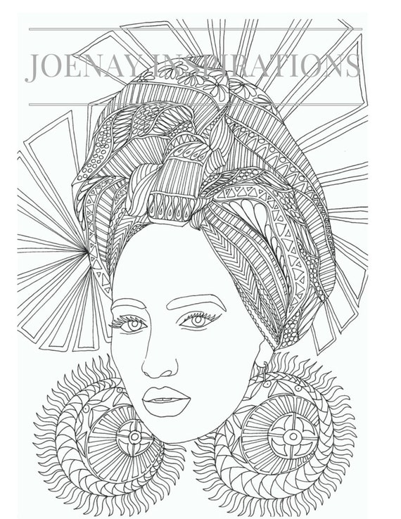 Adult coloring Book, Printable Coloring Pages, Coloring Book for Adults Instant download, Faces of the World 1 Page 2