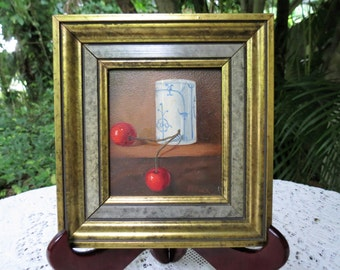 Oil Painting by Pecora - Still Life Painted Cherries - Vintage Art