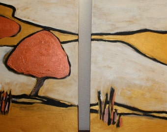 Diptych Orchard Abstract