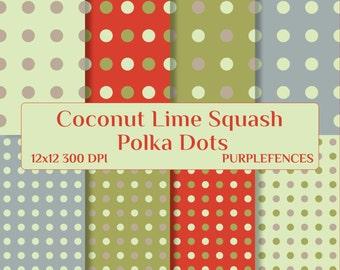 Coconut Lime Squash POLKA DOTS Scrapbook DIGITAL Paper / Card Making, Scrap Booking Paper/Instant Download/Printable/Polka Dot