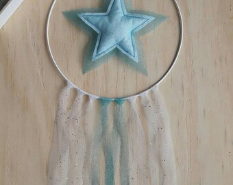 Dream catcher star in tulle and sequins ideal for baby's room decoration, little girl and Princess