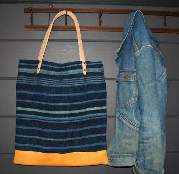 Indigo Mud Cloth Stripe Tote