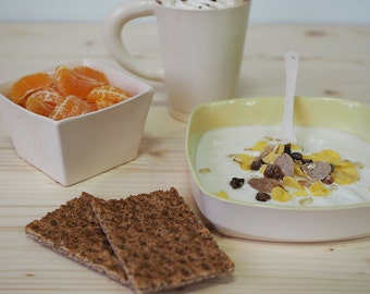 Kit Petit déjeuner gargantuesque en Faïence ( Mug ou bol - assiette creuse - bol carré)