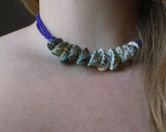Triple Strand Royal Blue and Conch Shell Necklace