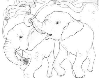 Underwater Elephants - Graphite drawing - 8x10 Archival Giclee Art Print