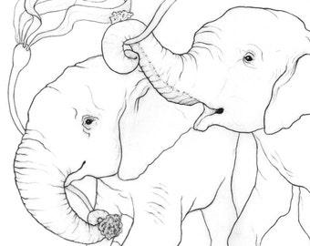 Underwater Elephants - 11x14 Graphite Drawing - Archival Giclee Art Print