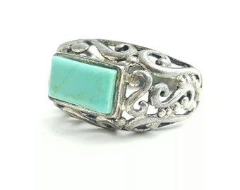 Vintage Sterling Silver Rectangular Turquoise Filigree Ring- Size 7.25