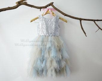 Sliver Sequin Gray Blue Ruffle Tulle Skirt Flower Girl Dress Junior Bridesmaid Wedding Party Dress M0013
