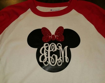 Minnie or Mickey Baseball Tee with Initials