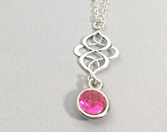 Pink Dot Necklace, Pink Pendant Necklace, Charm Necklace, Circle Necklace Jewelry, Customized Jewelry,Friendshipship Jewelry,Gift For Friend