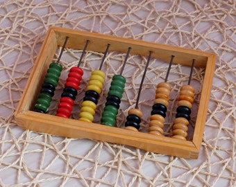 Wooden Abacus, old Russian kids small abacus toy, vintage multicolor abacus, counter toy, mini abacus