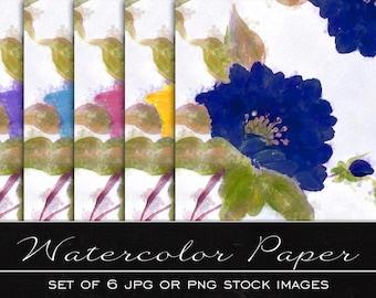 Floral Patern, digital watercolor paper, drawing, illustration, print, printable, download, scrapbooking, PDF, JPG, PNG