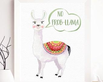 Llama printable, funny printable art no probllama, funny quote, funny wall art, animal printable, typography printable, llama print, nursery
