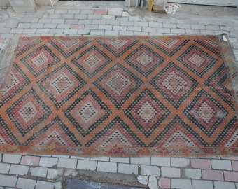Vintae Turkish Cicim Kilim Rug, Runner Rug, Worn Rug, Natural Colors