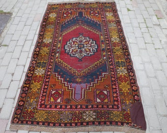 Anatolian Vintage Turkish Rugs, Old Aged Rugs, Worn Rugs, Crimson Red, Indigo Blue, Rug Runner, Colorful Traditional Rug