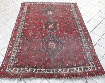 Wool on Wool Vintage Shiraz Rug with Madder Red and Burgundy, Area Rug, Handmade Big Rug, Shabby Chic Interiors