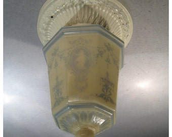A8021 Antique 1900's Era Flush Mount Terracotta Ceiling Light Fixture with Cameo Custard Glass Globe