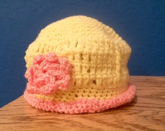 Yellow and Pink Sunshine Baby Hat