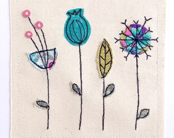 Botanical greeting card- personalised textile art Embroidery fabric applique picture Wildflower nature seed heads Scandi rustic