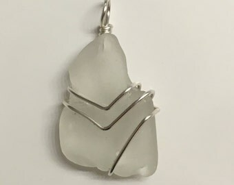 Sterling Silver Plated Frosted Sea Glass Pendant
