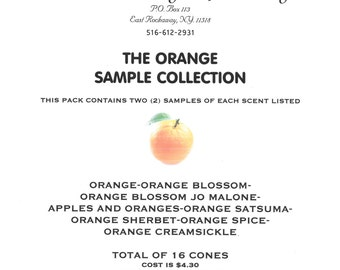 Incense Orange scent sample pack with 8 different Orange scents-2 cones of each