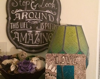 LOVE wood burned picture frame