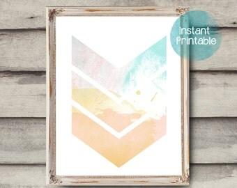 Chevron Abstract Watercolor Painting Printable Modern Art Print Coral Aqua Pink Yellow Abstract Painting Printable Coastal Decor Minimal Art