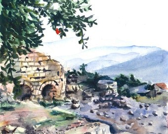 The Ancient City of Safed. Original Israel landscape watercolor painting. Pomegranate tree, stone ruins, hills. Home decor, Office decor.