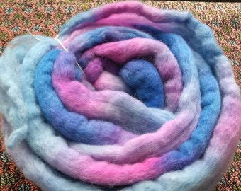 Hand dyed roving.