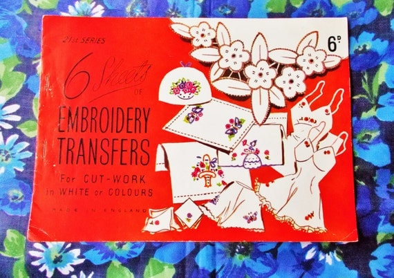 Vintage iron on embroidery transfer booklet sheets of