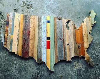 6' USA Reclaimed Wood Cutout - Wall Art